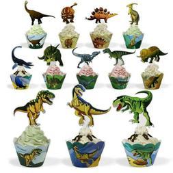 Dinosaur Cake Cupcake Topper Decorations Kids Boy Toddler An
