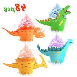 Dinosaur Cupcake Wrappers Toppers,Konsait Little Dino Cupcak