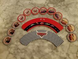 Disney Pixar Cars McQueen Cupcake Toppers & Wrappers Kids Bi