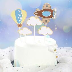 DIY Birthday Airplane Clouds Hot Air Balloon Cake Decoration