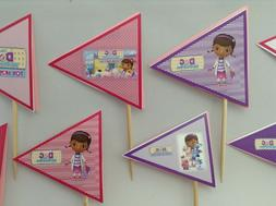 Doc mcStuffins inspired 24 cupcake toppers-paper decor-wood
