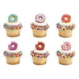 Donut Sprinkles Doughnut cupcake rings  cake topper 2 dozen