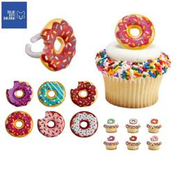 Donuts Cupcake Toppers Rings - Set of 24 Cake Toppers Birthd