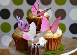 Edible Butterflies © -Large Pink Set of 12 - Cake and Cupca