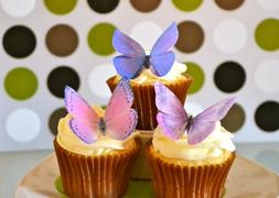 Edible Butterflies -Large Purple Set of 12 - Cake and Cupcak