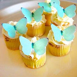 Edible Butterflies - Small Teal Color Set of 24 - Cake and C