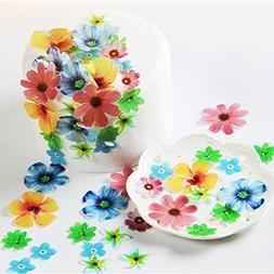 GEORLD Set of 48 Edible Flowers Cupcake Toppers Wedding Cake