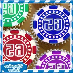 EDIBLE ICING SHEET - 24 X CASINO CHIP 65TH BIRTHDAY CUPCAKE