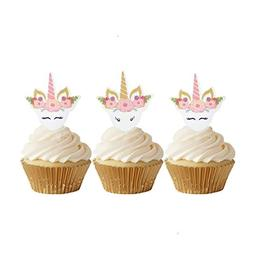 GEORLD 24pcs Edible Unicorn Cupcake Toppers Birthday Cake De