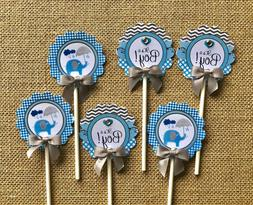 Elephant  Cupcake Toppers/Elephant theme Blue and gray eleph