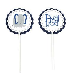 Elephant Cupcake Toppers Picks Boy Baby Shower Navy Blue & G