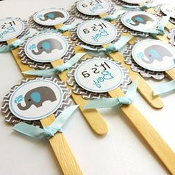 Baby Boy Elephant Cupcake Toppers - It's a Boy Baby Shower P