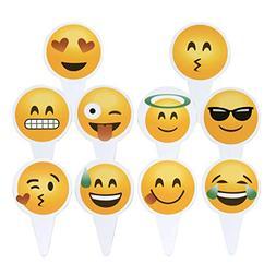 Emoji Cupcake Topper 50 PCS Big Smileys Toppers Popular Emot