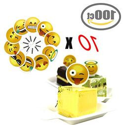 Emoji Cupcake Topper 100 PCS Big Smileys Toppers Popular Emo