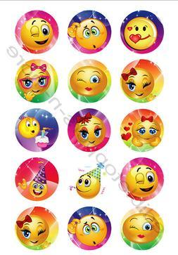 Emoji Edible Print Premium Cupcake/Cookie Toppers Frosting S