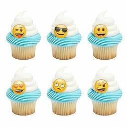 Emoji Emoticon Moods Cupcake Topper Rings - 24 pc