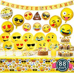 Melonboat Emoji Party Supplies 88ct Birthday Decorations Kit