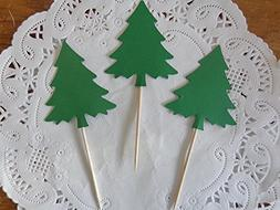 Large Green Evergreen Tree Cupcake Toppers - Food Picks - Pa