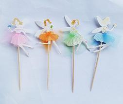Yunko 24pcs Fairy Girl Wing Party Fun Cup Cake Decorative To