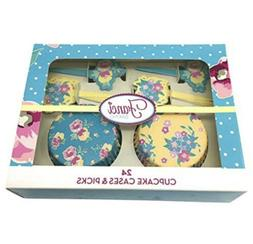 Fanci Floral 24 Cupcake liners and 24 picks Any Occasion New
