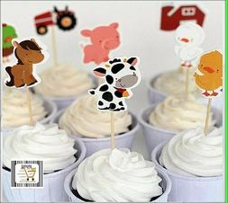 FARM ANIMALS  Birthday  Cupcake Toppers Party supply, party