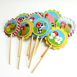 Farm Animals Cupcake Toppers -   Children Birthday Party Sup