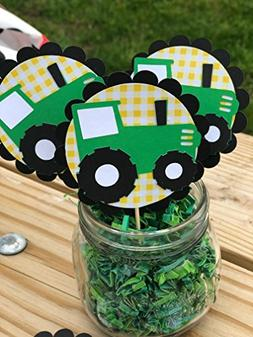 Farm John Deere Green inspired Tractor cupcake toppers set o