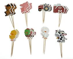 V-fox Farm Zoo Animal Cupcake Appetizer Decorations Toppers