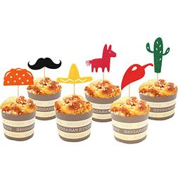 Fiesta Cupcake Toppers, Mexican Themed Cactus Donkey Taco Pe