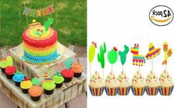 42 Pcs JeVenis Fiesta Cupcake Toppers Mexican Fiesta Party C