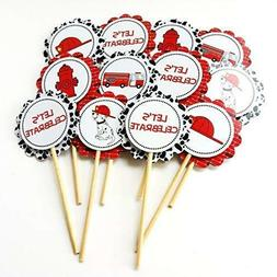 Fire Rescue Firefighter Cupcake Toppers - Birthday Party Sup