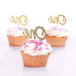 First Birthday Cupcake Toppers. ONE Birthday Picks. Gold Gli