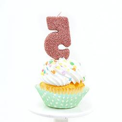 "Number Five  3"" Rose Gold Glitter Birthday or Anniversary Ca"