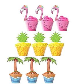 flamingo pineapple palm cupcake toppers