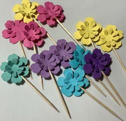 Flower cupcake toppers birthday Or Any Occasion. Lot of 12