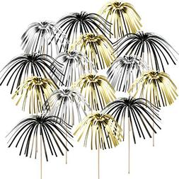 TecUnite 100 Pieces Foil Frill Firework Cupcake Picks Christ