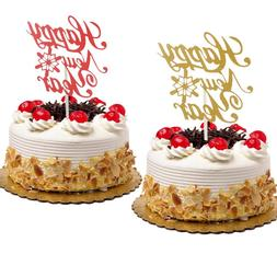 <font><b>Cake</b></font> Toppers Happy New Year Red Gold Bir