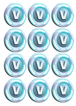 FORTNITE V BUCKS Edible cookie/cupcake toppers - PRE CUT WAF