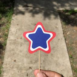Fourth Of July Star Cupcake Toppers For Independence Day Par