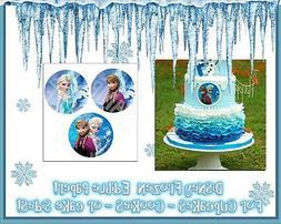 Frozen cake topper cupcake tops picture photo sugar round ci