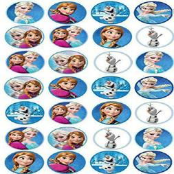 Frozen Edible Cupcake Toppers Elsa, Anna & Olaf x 28