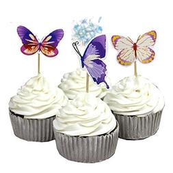 Garden Butterfly Flowers Cupcake Toppers Picks Girls Assorte