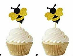 Glitter Bee Cupcake Toppers Party Packs 24PCS Baby Shower &