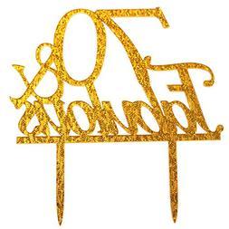 Glitter Gold Acrylic 70 & Fabulous Cake Topper, 70th Birthda