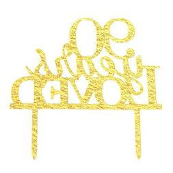 Glitter Gold Acrylic 90 Years Loved Cake Topper Decoration,