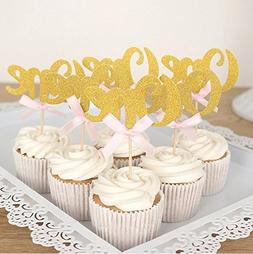 Looching 24PCS Glitter Gold One Cupcake Topper Pink Bow 1st