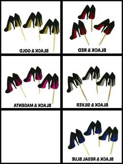 GLITTER High Heel Stiletto Shoes Design Cupcake Toppers Choo