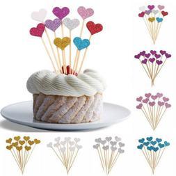 Glitter Love Heart Cake Topper Cupcake Decoration Wedding Ba
