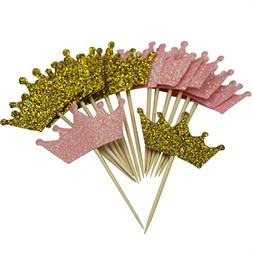 Mybbshower Glitter Pink and Gold Tiara Cupcake Toppers for G