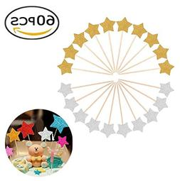 60pcs Glitter Star Cupcake Toppers Party Cake Decorations